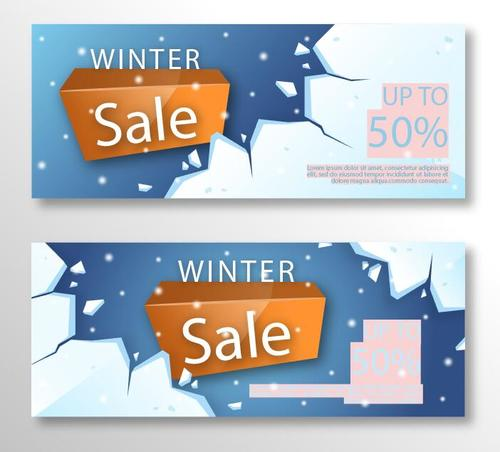 Realistic winter sale banner vector