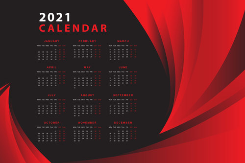 Red and black design calendar 2021 vector