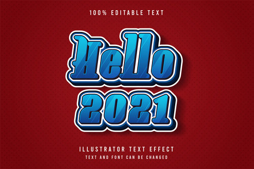 Red background blue editable font effect text vector