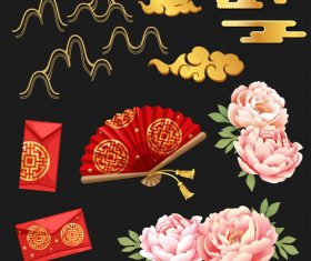Red envelope and fan new year element vector