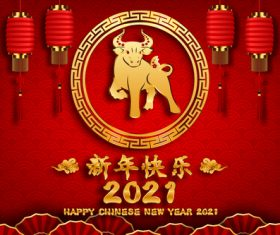 Red lantern background new year greeting card vector
