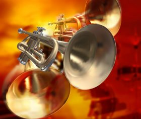 Red musical background with piano drums and trumpet vector
