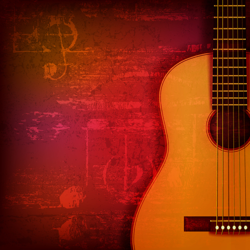 Red sound grunge background with acoustic guitar vector