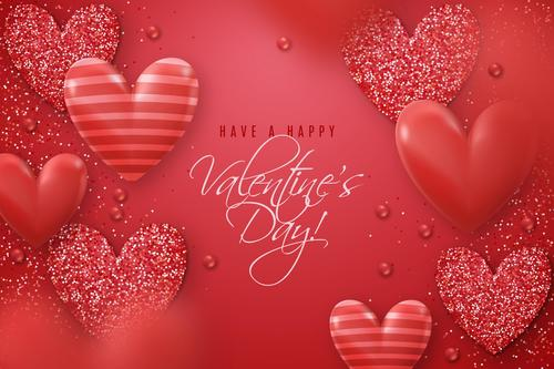 Red valentines day greeting card vector