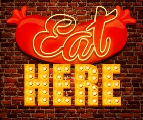 Red wall background hot dog advertising vector