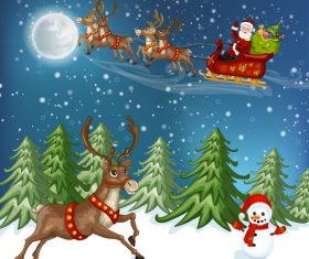 Reindeer snowman and santa vector
