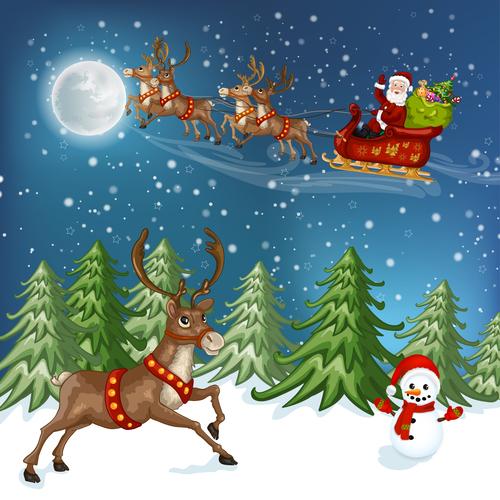 Reindeer snowman and santa vector
