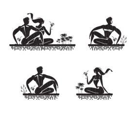 Resort silhouette vector