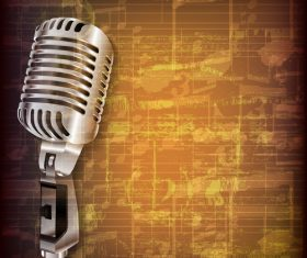 Retro background with retro microphone vector