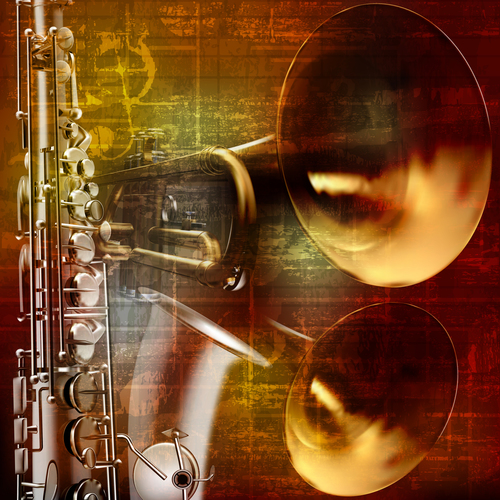 Retro sound background with trumpet and saxophone vector