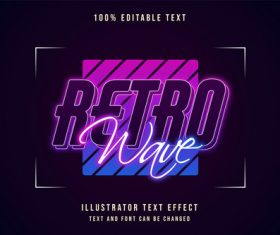 Retro wave editable font effect text vector