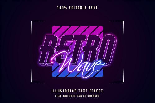 Retro wave editable font effect text vector