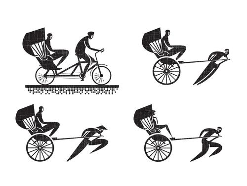 Rickshaw silhouette vector