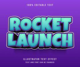 Rocket launch 3d editable text vector