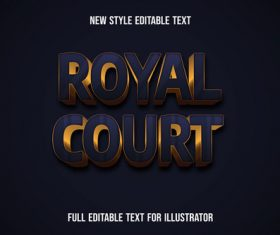 Royal court text style effect vector
