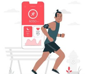 Running cartoon illustration vector