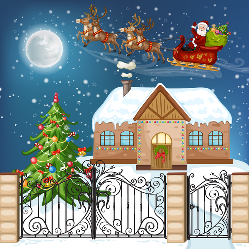 Santa Claus giving gifts on Christmas Eve vector