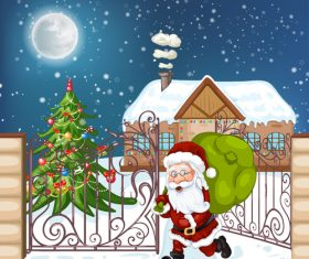 Santa Claus vector busy giving gifts