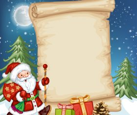 Santa and letter paper background vector