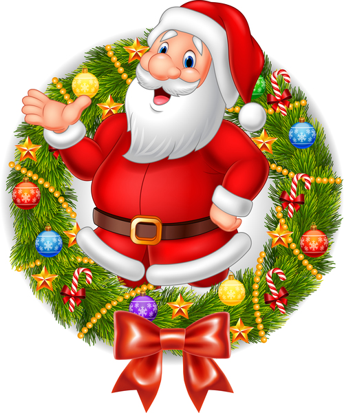 Santa claus and wreath vector