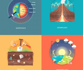 Science flat banner set vector