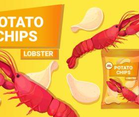 Seafood taste potato chips poster vector