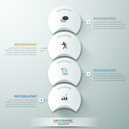 Semicircle templates of Infographics vector