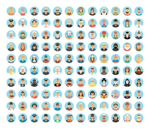 Set cartoon characters vector