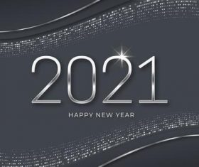 Silver new year 2021 background vector
