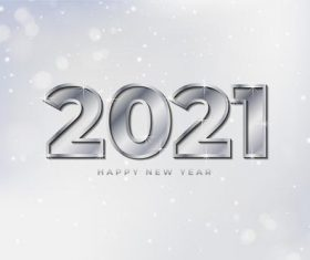Silver white new year 2021 background vector
