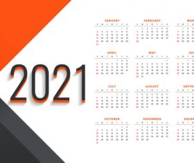 Simple design 2021 new year calendar vector