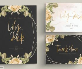 Simple flower background invitation card vector