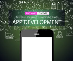 Sketch concept app development information vector