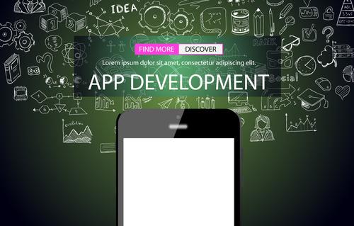 Sketch concept app development information vector