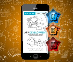 Sketch concept information app development cell vector