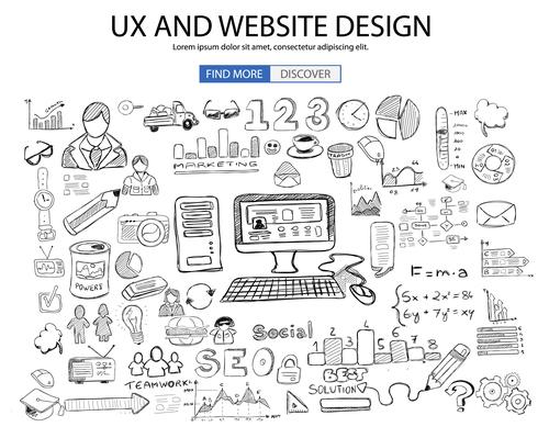 Sketch concept website design information background vector