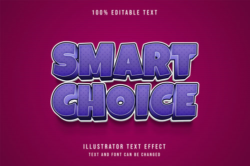 Smart choice editable font effect text vector