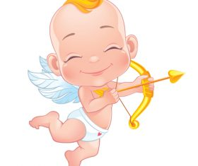 Smiling cupid icon vector