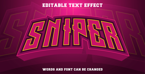 Sniper text style effect vector