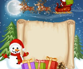 Snowman santa claus and letter paper background vector