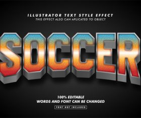Soccer illustrator text style effect vector