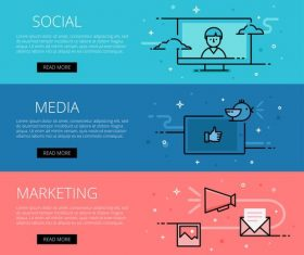Social Media Marketing line vector web banners set