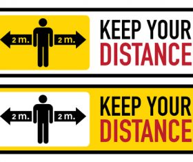 Social distance 2 meters logo vector