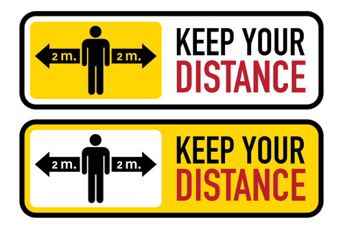 Social distance 2 meters logo vector