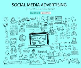 Social media advertising background information vector