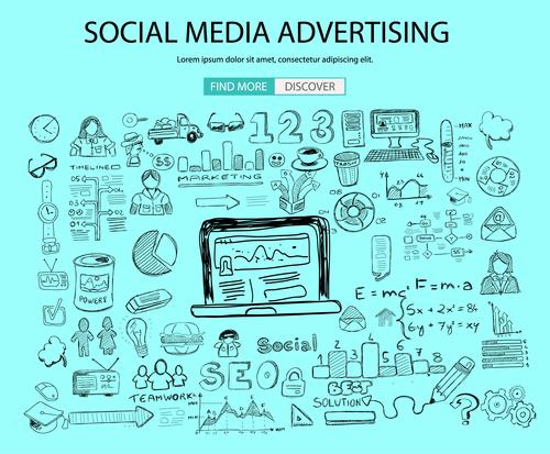 Social media advertising background information vector