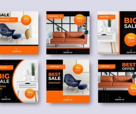 Sofa promotional flyer vector