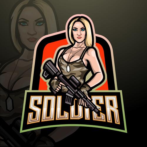 Soldier game mascot design vector