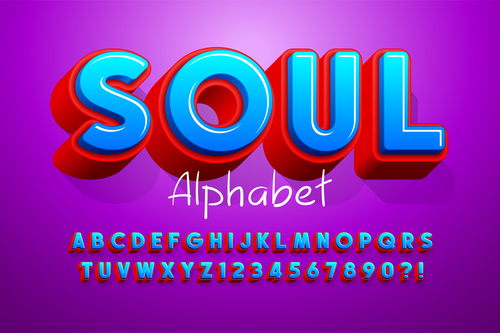 Soul and alphabet illustrator text style effect vector