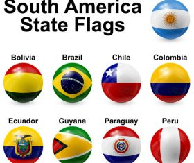South america state flags vector